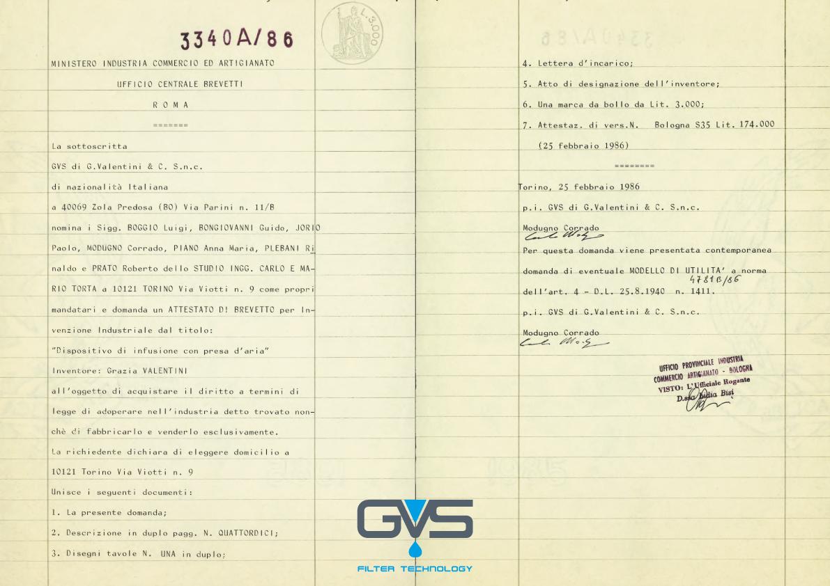 Primo brevetto in ambito medicale depositato da GVS.