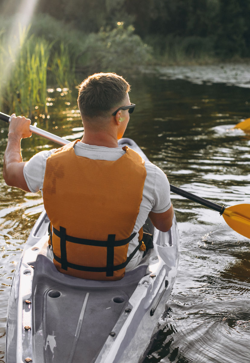 Man canoeing in the river